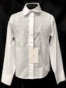 SLY модель 120/S/16 блузка длинный рукав, вышивка, белая (р-ры128,134,146,152,158,164)
