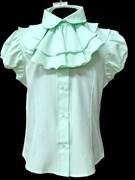 AGATKA блузка кор.рук. с пуговками, съёмное жабо, мята (р.128-158) 6 шт.