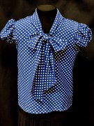 AGATKA блузка кор.рук. с бантом горох синяя (р-р128-158)