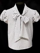 AGATKA блузка кор.рук. с бантом горох белая (р-р128-158)