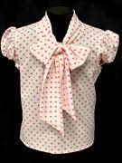 AGATKA блузка кор.рук. с бантом горох розовая (р-р128-158)