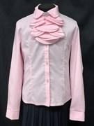 Ter-Ko блузка дл.рук. розовая, жабо с брошью (р-ры128-158)