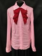 блузка ЛЮТИК модель 20152 розовая длинный рукав двойное жабо (рост146,152,158,164,170)