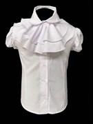 AGATKA блузка кор.рук. с пуговками, съёмное жабо, белая (р.128-158) 6 шт.