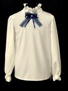 Zibi блузка длин. рук.бантик-ленточка, кремовая (разм128-158)