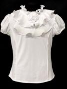 AGATKA блузка кор.рук. роза на вороте, белая (р.128-158)
