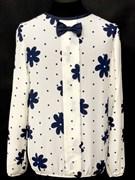 SLY блузка дл.рук. кремовая (цветы)(р.128-164)