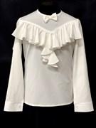 AGATKA блузка дл.рук. оборка-бантик, кремовая (р128-158)
