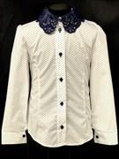 блузка ЛЮТИК модель 20182 длин.рукав, белая (рост128,134,140,146,152)