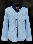 блузка ЛЮТИК модель 20166 дл.рук. в гороршек, голубая (рост128,134,140,146,152)