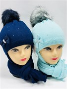 AGBO комплект 1724 KELLY шапка с утеплителем подкл.хлопок+шарф (р.50-52)