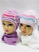 GRANS комплект A394 шапка двойная вязка+шарф (р.46-48)