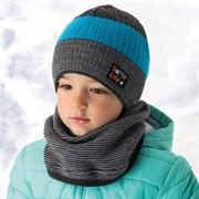 .AJS шапка и снуд для мальчика 36-370 подклад флис (р.50-52) super boy