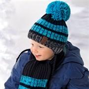 .AJS комплект 36-348 шапка двойная вязка+шарф (р.46-48)
