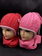 GRANS комплект K 201 шапка двойная вязка+шарф (р.46-48)красные