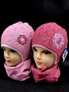 GRANS комплект A306 шапка двойная вязка+шарф (р.46-48)