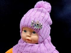 комплект шапка подкл.хлопок+снуд (р.46-48) - бабочка