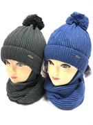 GRANS комплект  A 905 ST шапка с утеплителем+шарф (р.50-52)