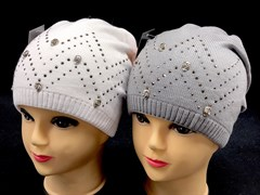 DIV шапака двойная вязка (р.52-54) - стразы