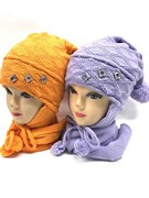 STING комплект, шапка двойная вязка + шарф (р.52-54)