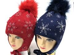 МегаШапка модель 5704 шапка для девочки подклад флис (р.52-54)красная