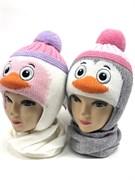 amal модель шапка с утеплителем + шарф (р.48-50) пингвин девочка