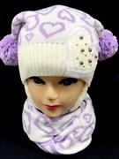 HILLTOP шапка для девочки с шарфом подклад евро-махра (р.52-54)