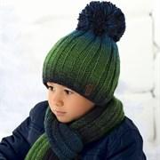 .AJS комплект 36-429 шапка двойная вязка + шарф (р.54-56)