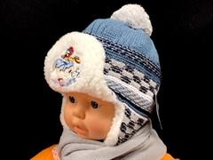 Rales шапка для мальчика с шарфом подклад мех (CrazyDriver)(р.40-42)