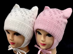 Angel шапка AN-5044 вязаная из ангоры белая с утеплителем (р.52-54)
