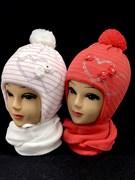 ambra комплект шапка подкл.мех+шарф (р.50-52) сердечки-стразы