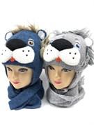amal модель шапка с утеплителем + шарф (р.48-50) лев