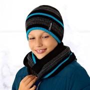 .AJS комплект 36-473 шапка двойная вязка + шарф (р.52-54)