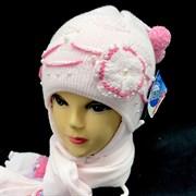 GRANS комплект A 499 шапка двойная вязка + шарф (р.44-46) малиновый
