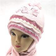AGBO комплект kpl Fantazja 3 шапка двойн.вязка+шарф (р.50-52)