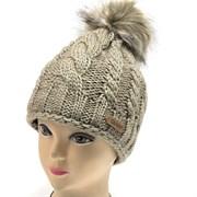 GRANS шапка  шапка с утепл.подкл.флис (р.54-56) меховой помпон