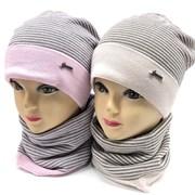 GRANS комплект K495 шапка двойная вязка+снуд (р.52-54)