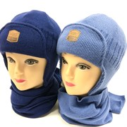 AGBO комплект 1011 TOMAS шапка подклад хлопок + шарф (р.50-52)