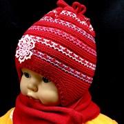 GRANS комплект A 312 шапка двойная вязка+шарф (р.42-44)