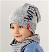 .AJS комплект 38-175 шапка для мальчика одинарный трикотаж + снуд (р.48-50) wild nature
