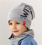 .AJS комплект 38-175 шапка для мальчика одинарный трикотаж + снуд (р.52-54)