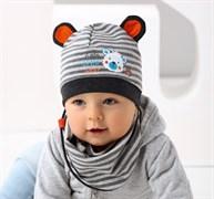 .AJS комплект 38-017 шапка одинарный трикотаж + манишка (р.44-46)