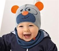 .AJS шапка для мальчика одинарная и снуд 38-037 (р.46-48) Мишка