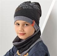 .AJS комплект 38-162 шапка для мальчика одинарный трикотаж +снуд (р.52-54)