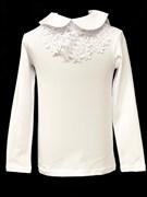 блузка ЛЮТИК модель 10108 длинный рукав, трикотажная, белая (р.128,134,140,146,152)