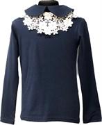 блузка ЛЮТИК модель 10108 длинный рукав, трикотажная, синяя (р.128,134,140,146,152)