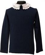 блузка ЛЮТИК модель 10109 длинный рукав, трикотажная, синяя (р.128,134,140,146,152,158)