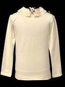 блузка ЛЮТИК модель 10109 длинный рукав, трикотажная, кремовая (р.128,134,140,146,152,158)