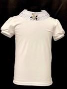 блузка ЛЮТИК модель 10109 короткий рукав, трикотажная, белая (р.128,134,140,146,152,158)