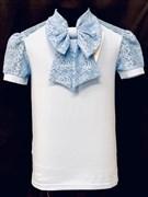 блузка ЛЮТИК модель 10110 к/р трикотажная, голубая (р.122,128,134,140,146)